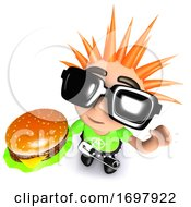3d Funny Cartoon Punk Youth Holding A Cheese Burger