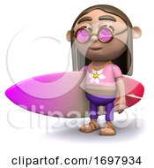 Poster, Art Print Of 3d Hippy With A Surfboard