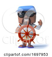 3d Sailor Dude Steers With The Ships Wheel