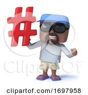 3d Cartoon Nautical Sailing Dude Character Has A Hash Tag Symbol