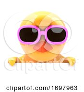 Poster, Art Print Of Chick In Sunglasses Looks Over The Top