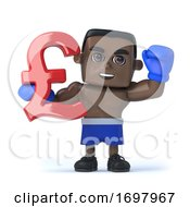 3d Black Boxer Holds UK Pounds Sterling Currency Symbol