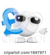 3d Golf Ball Holds UK Pounds Sterling Symbol