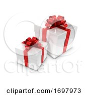 3d Two White And Red Gift Boxes