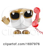Poster, Art Print Of 3d Coffee Cup On The Telephone