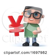 3d Boy In Glasses Holds Japanese Yen Currency Symbol