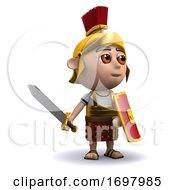 3d Roman Soldier Waves His Sword