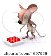 Poster, Art Print Of 3d Mouse Wants To Press The Button