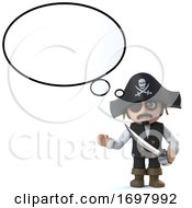 3d Funny Pirate Captain Character Has An Idea