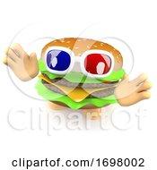 Poster, Art Print Of Funny 3d Cartoon Cheeseburger Character Wearing 3d Glasses