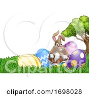 Poster, Art Print Of Easter Bunny Rabbit Breaking Out Of Egg Cartoon