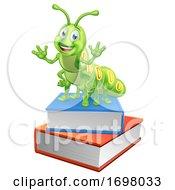 Bookworm Caterpillar Worm On Book Stack by AtStockIllustration