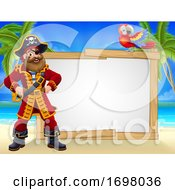 Pirate Captain Beach Sign Cartoon