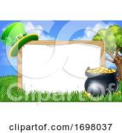 St Patricks Day Leprechaun Hat Pot Of Gold Sign