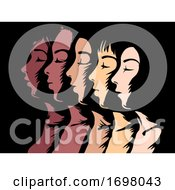 Poster, Art Print Of Woman Skin Colors Stencil Illustration