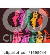 Women Colored Unity Stencil Illustration
