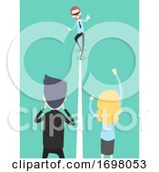 Poster, Art Print Of People Office Icebreaker Blindfold Straight Line