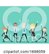 Poster, Art Print Of People Office Icebreaker Team Cheer Illustration