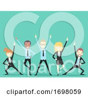People Office Icebreaker Team Cheer Illustration