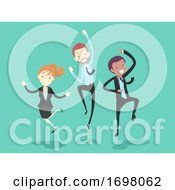 Poster, Art Print Of People Work Happy Jump Illustration