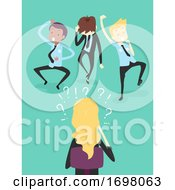 Poster, Art Print Of People Work Reverse Charades Game Illustration