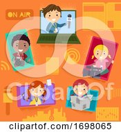 Stickman Kids Broadcasting Gadgets Illustration