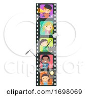Stickman Kids Media Production Roles Illustration