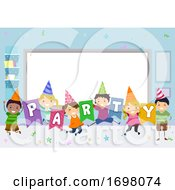 Stickman Kids Party Classroom Illustration