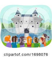 Stickman Kids Moat Castle Illustration