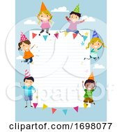 Stickman Kids Paper Party Paper Board Illustration