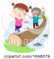 Kids Across Stream Tree Trunk Illustration