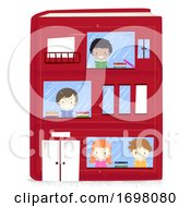 Miniature Kids Reading Book Building Illustration