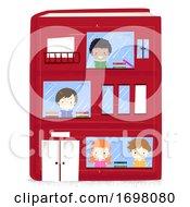 Miniature Kids Reading Book Building Illustration
