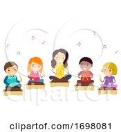Poster, Art Print Of Stickman Kids Girl Xylophone Lesson Illustration