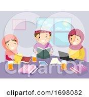 Stickman Kids Siblings Muslim Study Illustration