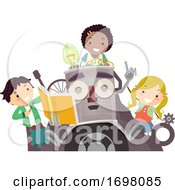 Stickman Kids Junk Art Guide Illustration