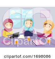 Stickman Kids Girls Muslim Group Study Laptop