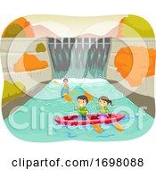 Stickman Kids Dam Autumn Kayak Illustration