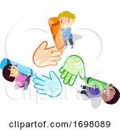 Stickman Kids Crayons Color Hands Illustration
