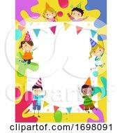 Stickman Kids Party Hats Splat Colors Illustration