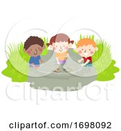 Kids Wetland Fish Net Explore Illustration