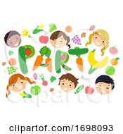 Stickman Kids Party Fruit Veggies Illustration