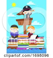 Kids Pirates Sail Stack Books Read Illustration