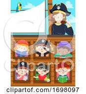 Kids Pirate Study Ship Teacher Parrot Illustration