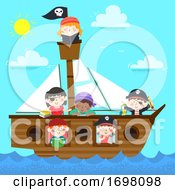 Kids Pirate Ship Study Books Illustration