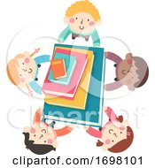 Kids Carry Big Books Illustration