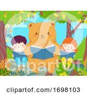 Kids Bear Read Book Trees Illustration