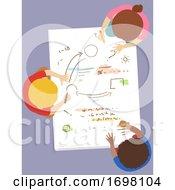 Kids Brainstorm Doodle Paper Top View Illustration