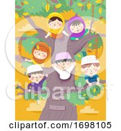 Kids Muslim Tree Waving Illustration