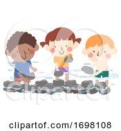 Poster, Art Print Of Kids Make Stone Dam Illustration